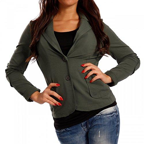 Damen Blazer Baumwolle Vintage Sweatblazer Kurzjacke Darkgreen