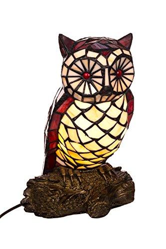 Lampe im Tiffany Style, Tiff102, Figurenlampe Eule, Dekorationslampe, Tiffany Style, Glaslampe, Leuchte ,Tischlampe, Tischleuchte, Leuchte Lampe