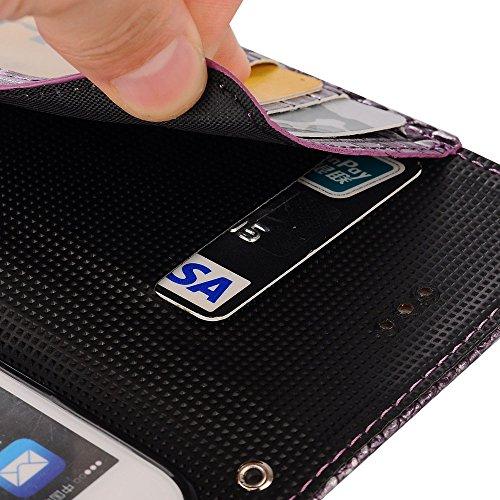 """MOONCASE iPhone 7/7G Coque, [Crocodile] Housse en Prime Cuir Etui à rabat pour iPhone 7/7G 4.7"""" Portefeuille Porte-cartes TPU Case avec Béquille Noir Violet"""