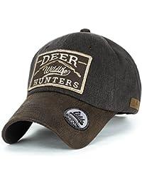 ililily Reh HUNTERS Flicken Baumwolle Baseball Cap künstliches Leder Krempe Trucker Cap Hut