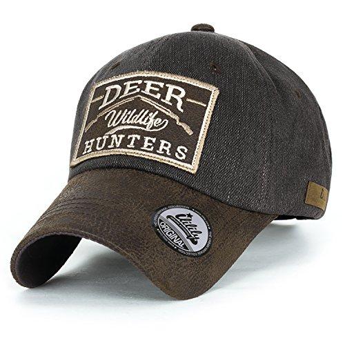 ililily Reh HUNTERS Flicken Baumwolle Baseball Cap künstliches Leder Krempe Trucker Cap Hut , Brown (Cap Running Leder)
