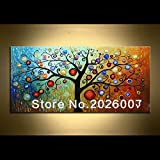 HANDBEMALT Landschaft abstrakt Palette Magic Tree Landschaft Wandbild Ölgemälde House Living Room Art, canvas, 24x48inch(60x120cm)