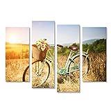 Cuadro Cuadros Bicicleta vintage con cesta llena de flores de pie en el campo Impresión sobre lienzo - Formato Grande - Cuadros modernos IDE