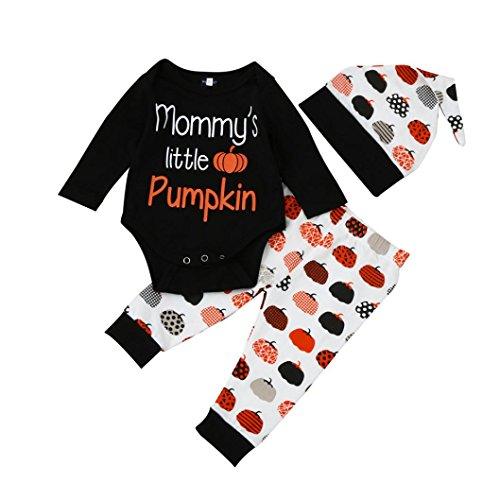 Halloween Outfits Kleider Set, QinMM Neugeborene Säugling Baby Mädchen Brief T-Shirt Tops + Hosen (12-18M, Schwarz)