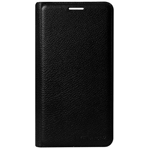 Lava A68 Flip Cover, Johra Premium HD+ Tempered Glass Screen Combo Black Leather Flip Case Cover for Lava A68 Tempered Glass