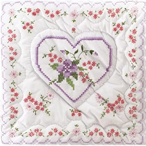 Tobin Stamped Quilt Blocks Cross Stitch Kit, 18 by 18-Inch, Lilac Hearts, White, 6 Per Package by Tobin