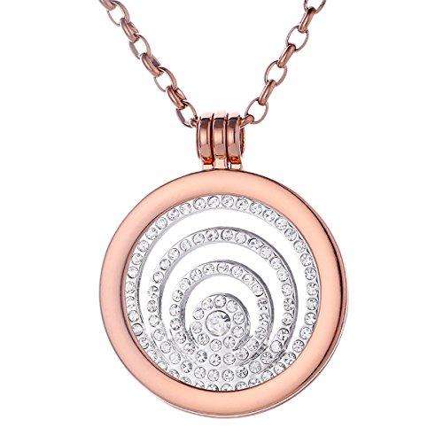 Morella mujeres collar 70 cm acero inoxidable de oro rosa y colgante amuleto Coin 33 mm anillo de piedras de circonita de color plata para damas en bolsa para joyas