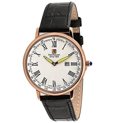 Reloj de pulsera de cuero negro ultra fino en oro rosa de los hombres clásicos de Steinhausen S0119