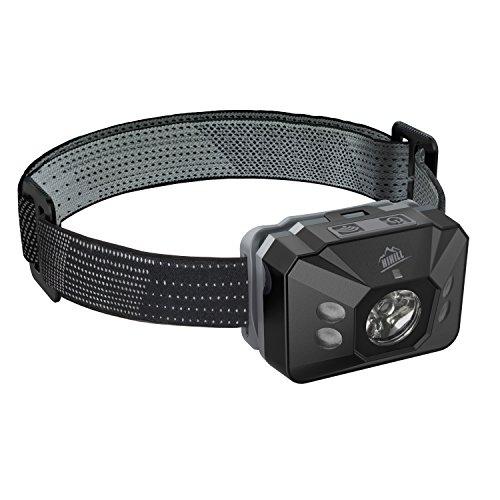HiHiLL Kopflampe mit IR Sensor Schalter, 4 Modi, Wasserdicht, einstellbares Kopfband, 3xAAA Batterien, für Camping, Wandern, Angeln, etc (LT-FL8, Schwarz)