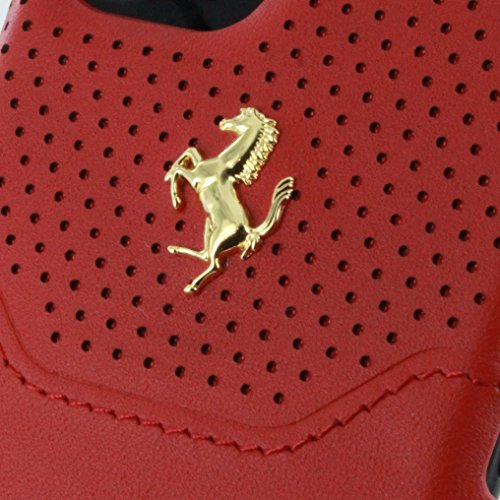 Ferrari FEHOHCP7BKR Hart Schutzhülle für Apple iPhone 7, Echtleder schwarz/silber rot/gold