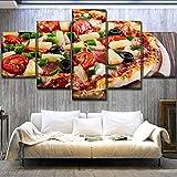 hlfymx (Kein Rahmen) HochwertigeLebensmittel Poster Wandkunst Hd Drucken Modulare Bild Küche Restaurant Home Decor 5 Stück Pizza MalereiArbeit