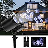 Greenclick doppelt LED Projektionslampe Schneeflocke Pattern Weihnachtsbeleuchtung IP44 Wasserdicht Gartenbeleuchtung Dekotation für Weihnachten Innen und Außen Beleuchtung(Weiße Schneeflocke)