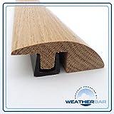 Barre de seuil ajustable en chêne massif laqué - Pour sols de 15 à 18mm