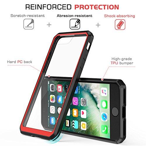 MoKo Hülle für iPhone 8 Plus / 7 Plus - [Kristall Durchsichtig Serie] Ultra Slim TPU + PC Handyhülle Crystal Clear Bumper Case Schutzhülle Schale für Apple iPhone 8 Plus / iPhone 7 Plus, Grau/Weiß Schwarz/Rot