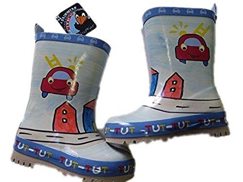 """MaxiMo Kindergummistiefel, Babygummistiefel, Naturgummi mit 40% Cottonfutter, hellblau/rot mit Motiv""""Feuerwehr"""", handbemalt jeder Stiefel ein Unikat (30)"""