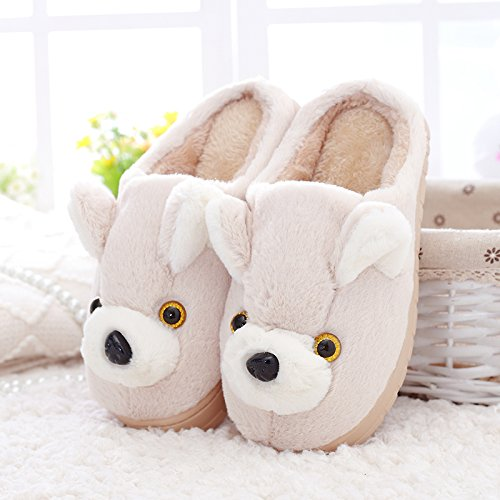 DogHaccd pantofole,Cotone femmina femmina pantofole delizioso caldo inverno spessa cartoon di peluche coppie soggiorno pantofole di peluche inverno M bianco3