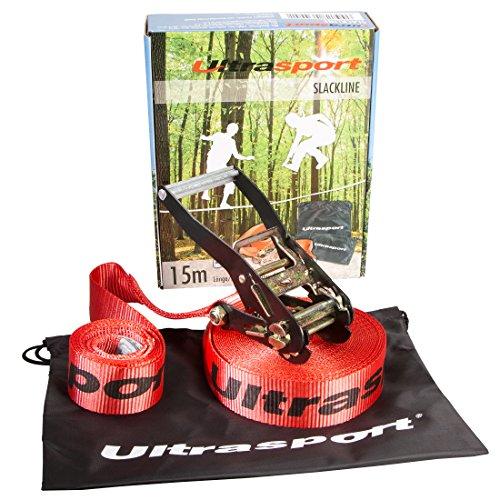 Ultrasport Slackline-Set 15 m lang, 5 cm breit
