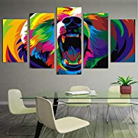 KQURNXSL Modern wall art poster HD print Modular canvas 5 panels colorful bears living room pictures home decoration Painting frame