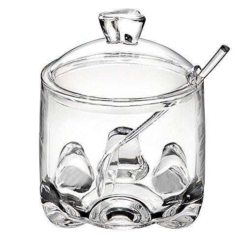 FOLOBE Premium Qualität Klare Acryl Condiment Flasche Marmelade Flasche mit Löffel Bar Zubehör