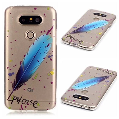LG G5 Custodia,KSHOP TPU Custodia conchiglia Caso Case Cover in silicone morbido Flessibile TPU modelli colorati - Piume Blu