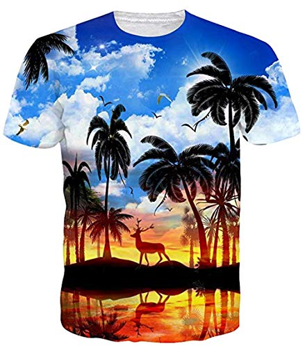 Schwarzes Hawaii-aloha-shirt (Sykooria Tshirts Herren 3D Druck Hipster Sommer Kurzarm Hawaii Aloha Palme Sprots T-Shirts)