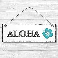 Aloha - Hibiskus Hawaii Dekoschild Türschild Wandschild aus Holz 10x30cm - Holzdeko Holzbild Deko Schild zur Dekoration Zuhause im Büro auch perfekt als Geschenk Mitbringsel zum Geburtstag Hochzeit Weihnachten für Familie Freundin Mutter Schwester Tochter