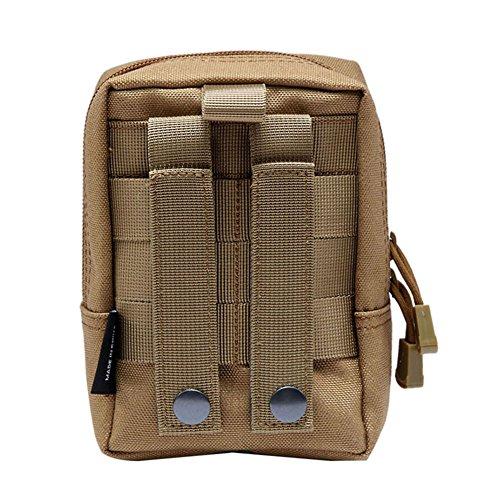 Shiningup wasserdichte Outdoor Taille Tasche 1000D Multifunktions EDC Molle Werkzeug Reißverschluss Taille Pack Zubehör Durable Gürteltasche Braun