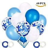 JOJOR Palloncini Azzurri Coriandoli, 60 Pezzi Palloncini Compleanno, Palloncini Blu Perlati per Decorazioni Festa Nascita Bambino, Battesimo Maschio, Prima Comunione, Baby Shower, Matrimonio Blu