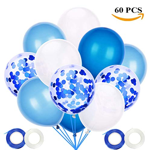 60 Stück Luftballons Blau Weiss, Blau Konfetti Helium Ballons12 Zoll für Hochzeit Party Junge Geburtstag Dekorationen Taufe Konfirmation Junge Deko Baby-Duschen Graduierung