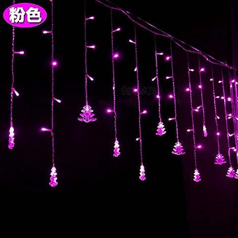 Illuminazione per esterni per case Natale Decorazioni Patio Holiday albero di Natale le luci a LED lampeggianti spie luci,rosa 4 m ghiacciolo luce
