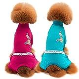 Huhuswwbin Hundepyjama mit Stickerei, Spitze, vierbeinig, Größe L, Pflaumenblüten