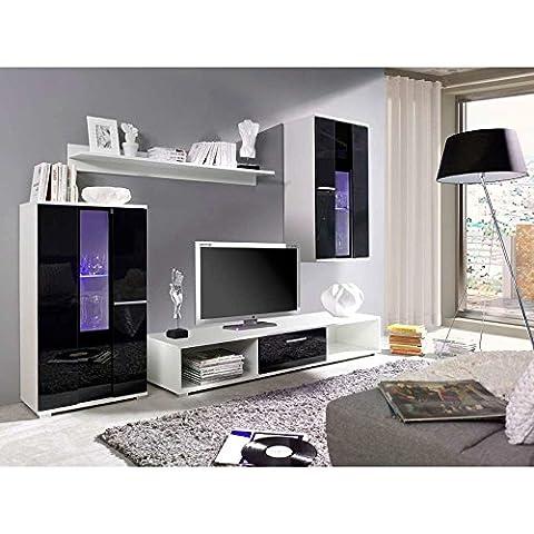 JUSThome Rico LED Wohnwand Anbauwand Schrankwand Weiß | Schwarz Hochglanz