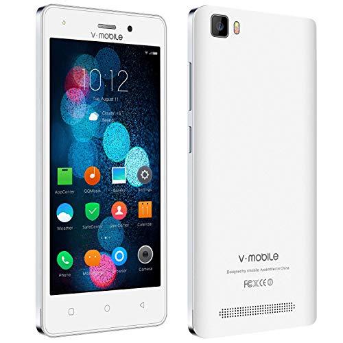 Smartphone Android,8Pcs 5.0 Pollici 8GB ROM,2800mAh Batteria Removibile,Dual Sim Android 7.0 CPU 4 Core, Fotocamera da 5 MP,WIFI/Bluetooth/FM Radio V Mobile A10 Cellulari Offerte,Bianca