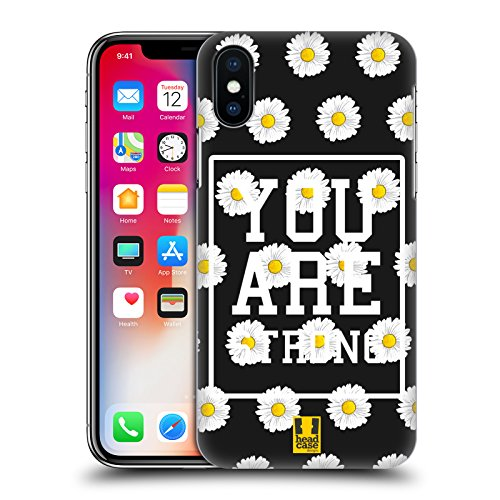 Head Case Designs Ombra Floreale Fantasia Margherite Cover Retro Rigida per Apple iPhone X You Are Strong