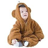 ZAMAC Unisex Baby Strampler Flanell mit Kapuze Neugeborenen Winter Overall in Einem Schnee Anzug Outfits Bodysuit