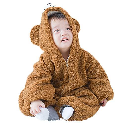 (ZAMAC Unisex Baby Strampler Flanell mit Kapuze Neugeborenen Winter Overall in Einem Schnee Anzug Outfits Bodysuit)