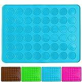 Belmalia Macarons Backmatte aus Silikon für 24 perfekte Makronen 48 Mulden antihaftbeschichtet 38x28cm Blau