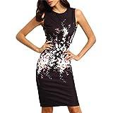 Elecenty Damen Sommerkleid Ärmellos Knielang Kleider Bodycon Frauen Partykleid Mode Rundhals Kleid Pencil Minikleid Kleidung (M, Schwarz)