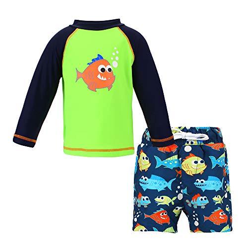 LACOFIA 2 Stück Kleinkinder Jungen Badeanzug UPF 50 + Sonnenschutz Kinder Schwimmshirt und Badeshort Set UV-Schutz Badesets für Jungen Grün 2-3 Jahre