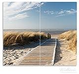 Wallario Herdabdeckplatte / Spritzschutz aus Glas, 2-teilig, 60x52cm, für Ceran- und Induktionsherde, Auf dem Holzweg zum Strand