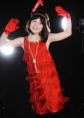 Magic Box Int. Kinder Größe 1920s Red Flapper Girl Kostüm Large (9-12yrs) (Girl Red Flapper Kostüm)