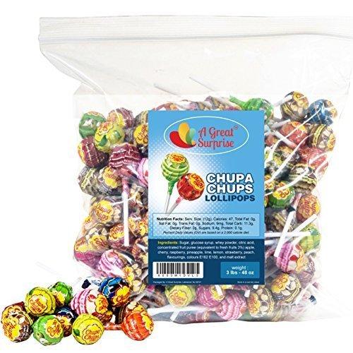 A Great Surprise Chupa Chups Lutscher, verschiedene Geschmacksrichtungen, 3lb Bulk Candy, 48 oz