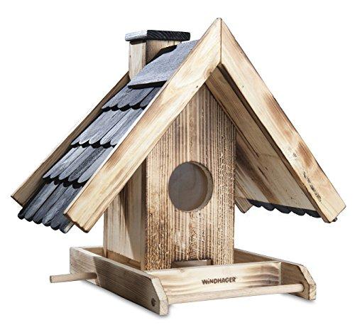 Windhager Vogelfuttersilo VILLA, Vogelfutterhaus Futterspender Vogelhäuschen Vogelhaus, aus Fichtenholz, 34 x 24 x 33,5 cm, 06918