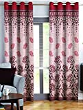 Story@Home Berry Blackout 1 Piece Jacquard Door Curtains Contemporary Pattern for Living Room