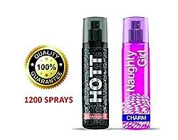 Hott SWAGGER & Naughty Girl CHARM Perfume Combo For Couple (1200 Sprays Each)