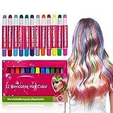 HAAR CHALK 12 Bunte Stifte sind leicht herauszuwaschen Keine Verwirrung 12 Metallic Glitter & Color Stifte für alle Haarfarben GEBURTSTAGSGESCHENKE FÜR MÄDCHEN Party Weihnachten Cosplay DIY