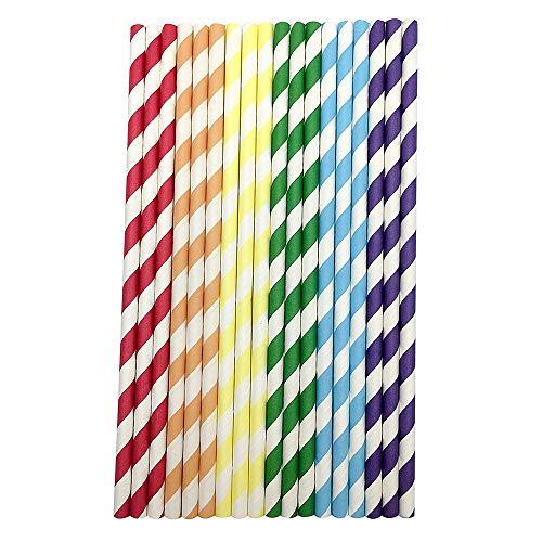 Lolittas 50 PCS Drink Paper Straws Birthday Party Supplies Thème Boire Rainbow Straws Paille INOX Paille reutilisable Paille Bambou Paille Papier