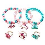 Girls Colourful Unicorn Bracelets,Children's Rainbow Unicorn Rings, Girls Jewellery Set, Christmas Stocking Filler Set - B