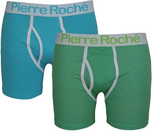 2-er-Pack Unterhosen mit Eingriff von Pierre Roche. Türkis - Turquoise Lime