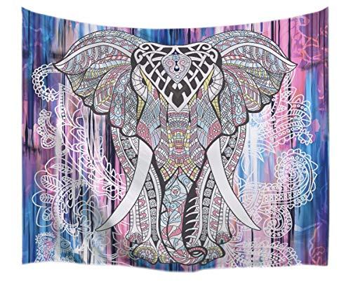 A.Monamour Tapices Indio Hippie Mandala Animales Patrón Tribu Elefante Tatuaje Impresión Tapices Tapiz Temática De Poliéster Tejido Decoraciones para Los Dormitorios Colchas 153x130cm / 60'x51'